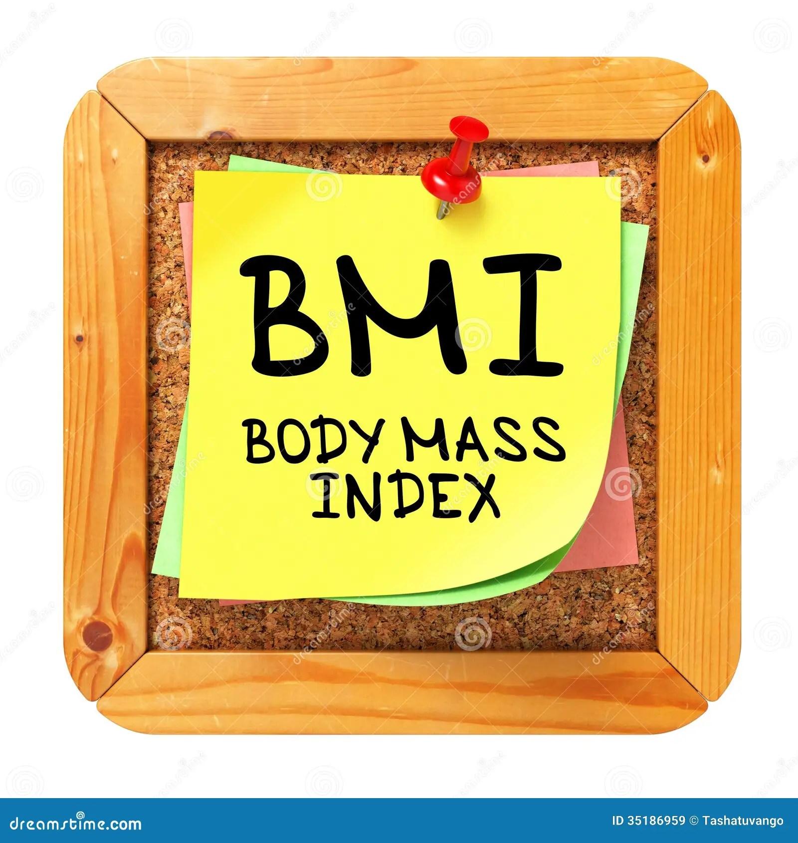 Bmi Yellow Sticker On Bulletin Stock Image