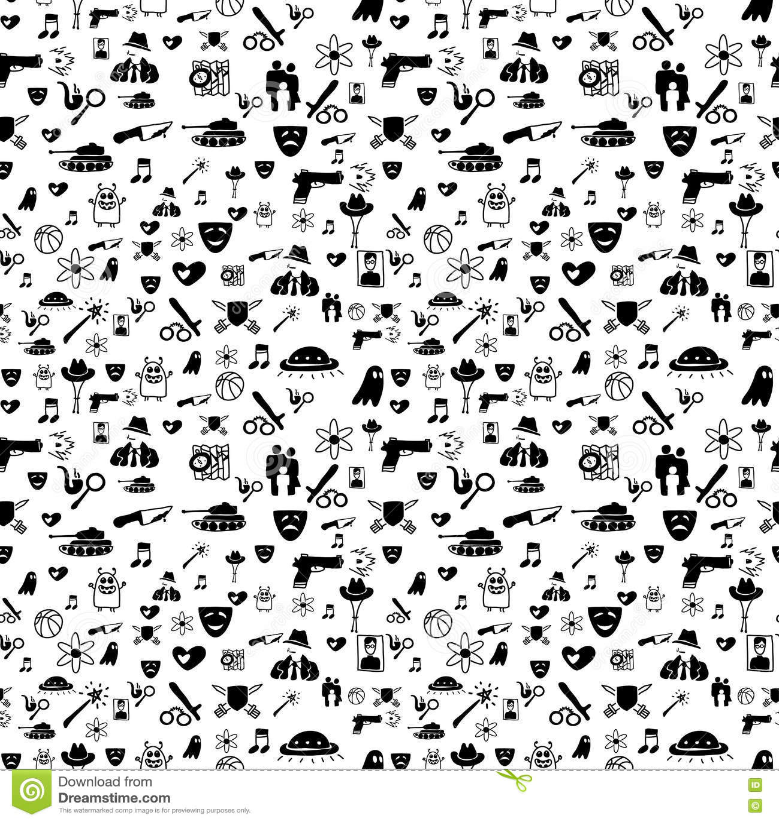 Bnw Movie Genre Pattern Vector Illustration