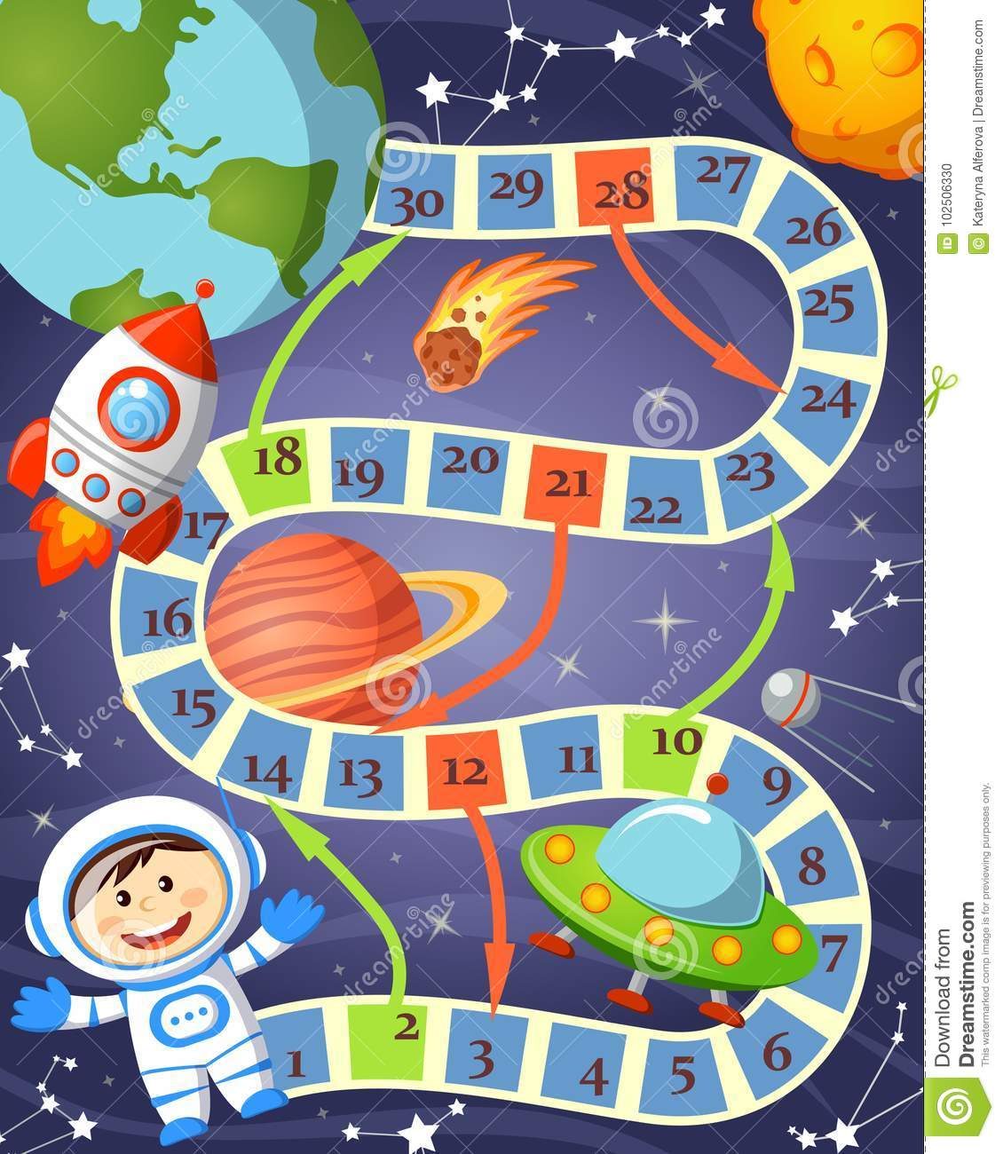 Board Game With Cosmonaut Ufo Rocket Planet And Stars