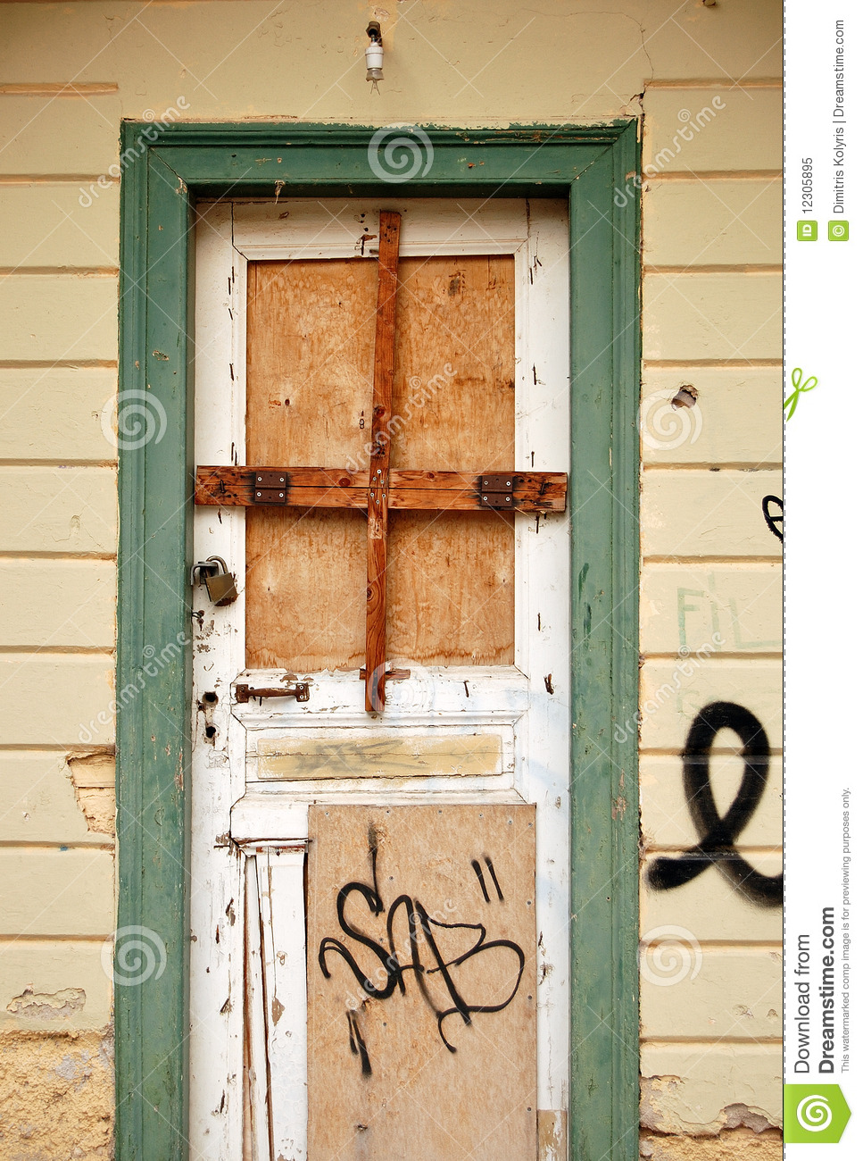 Boarded Up Door Royalty Free Stock Photo
