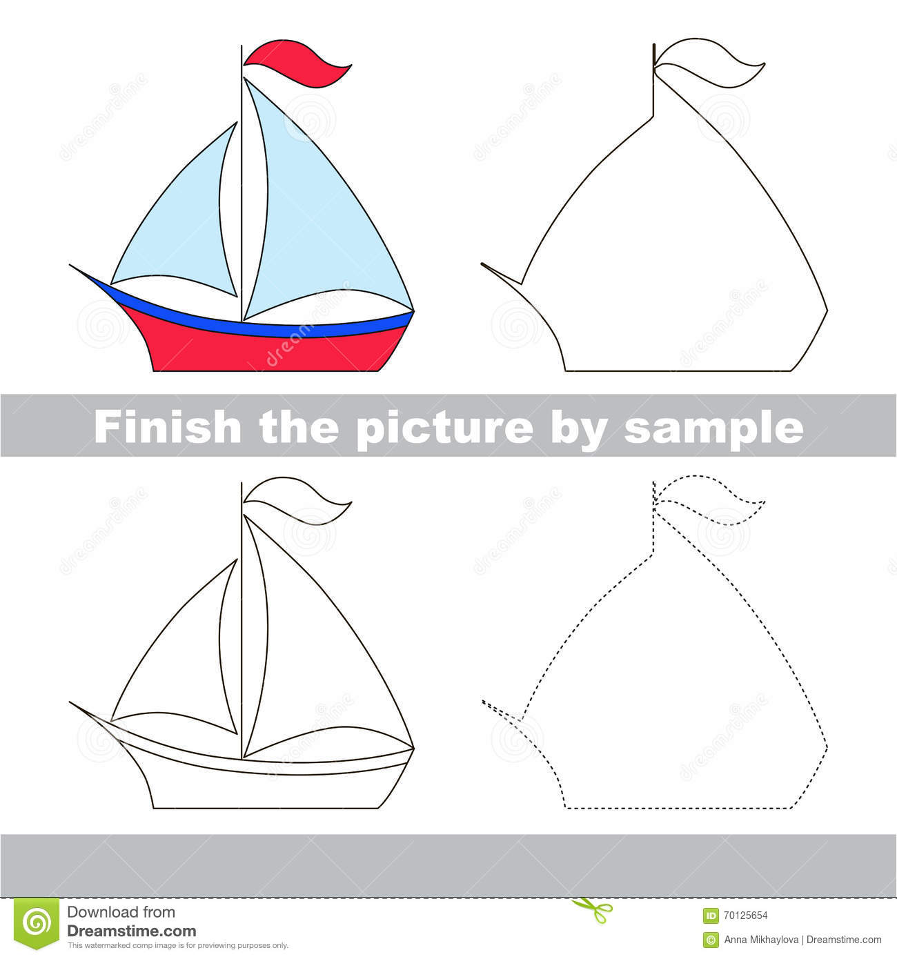 Boat Drawing Worksheet Stock Vector Illustration Of