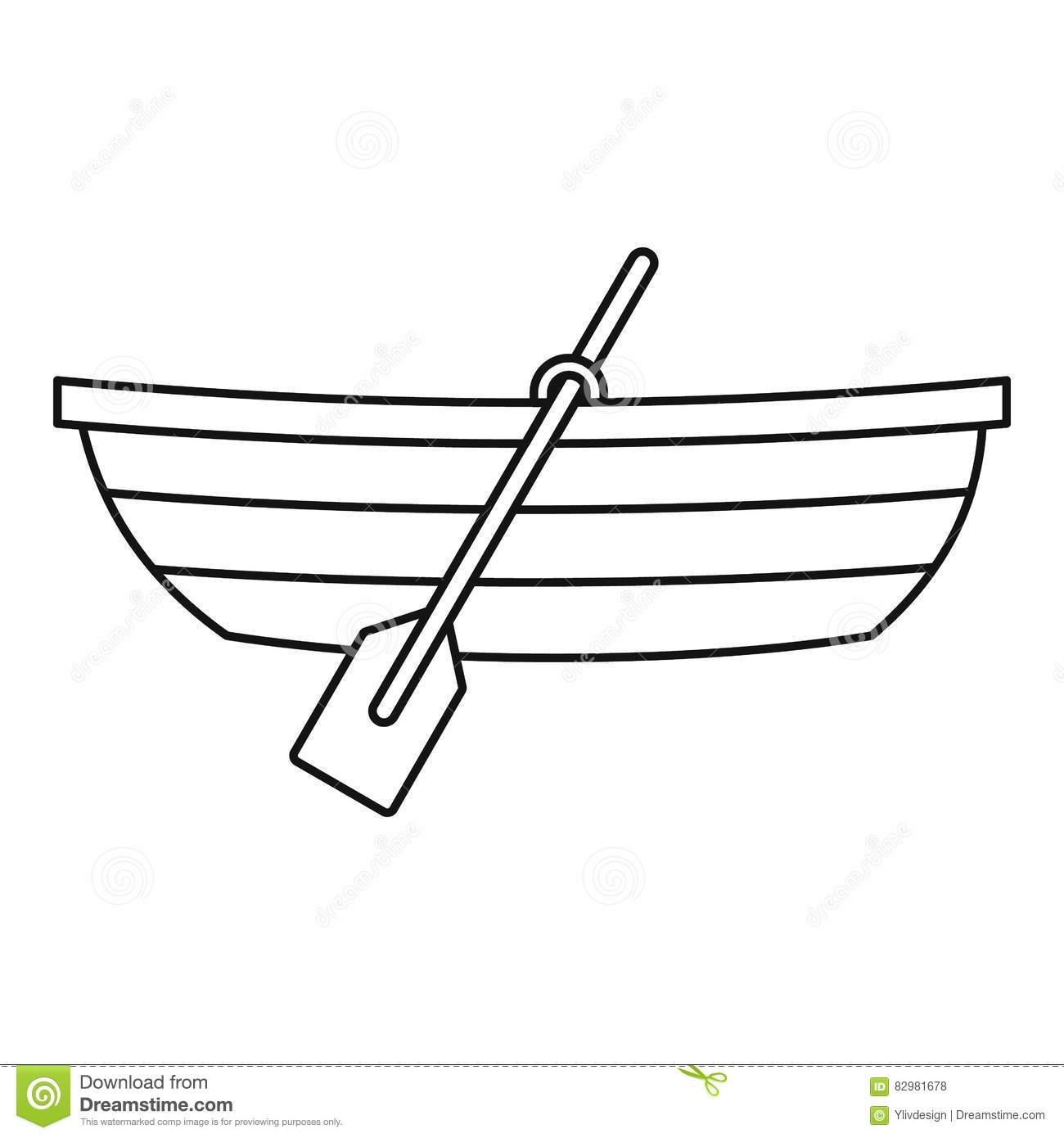 Boat With Paddles Icon Outline Style Stock Vector