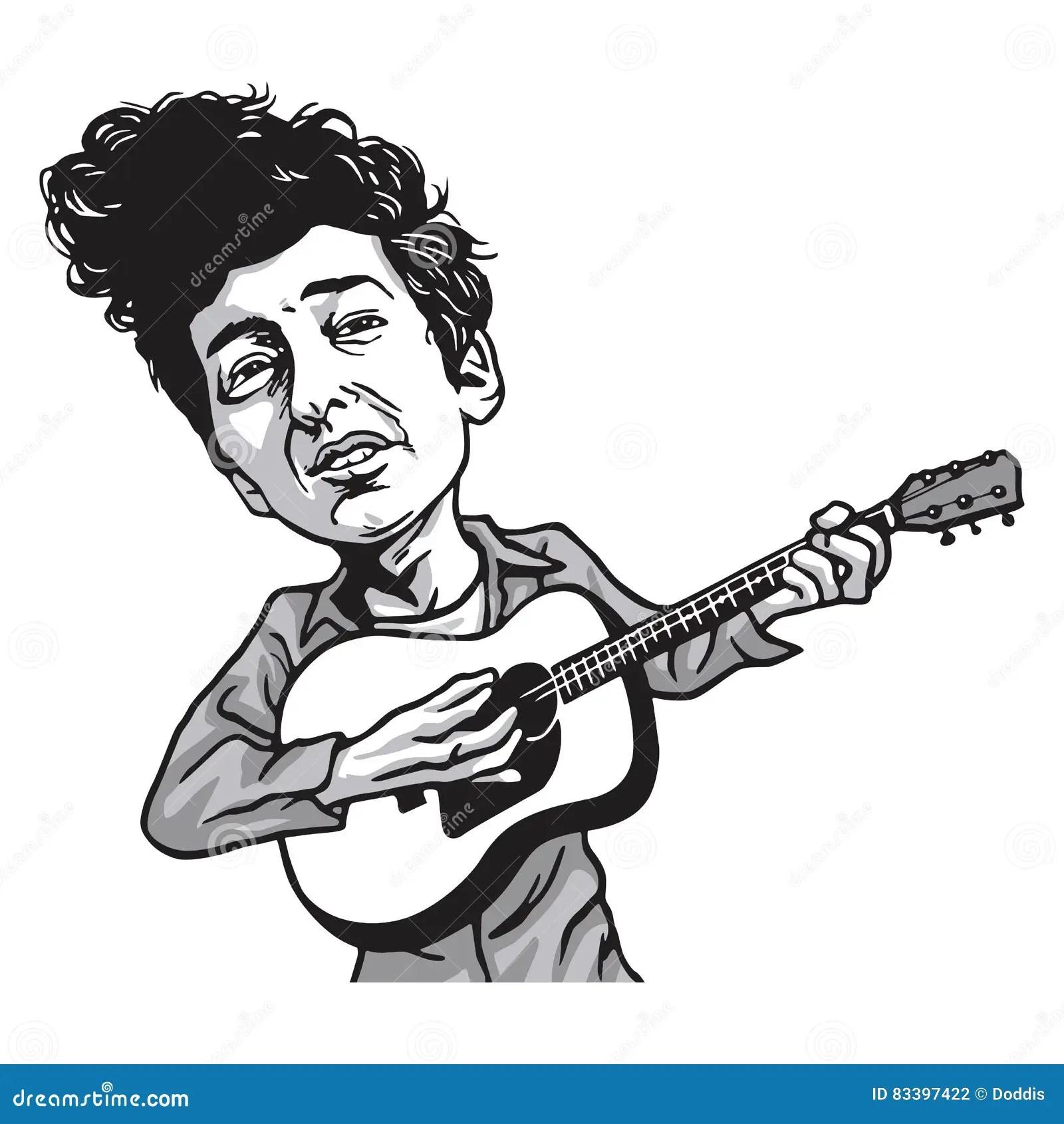 Bob Dylan Cartoon Playing Guitar Stock Vector