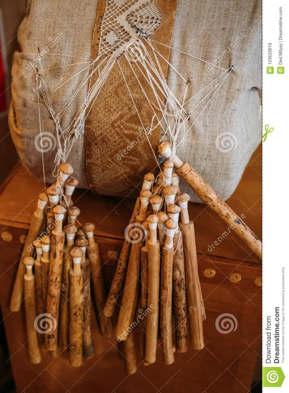 Bobbin Lace Equipment For Handmade Craft Lace Making Wooden Tools Stock Image Image Of Handwork Decoration 123633619