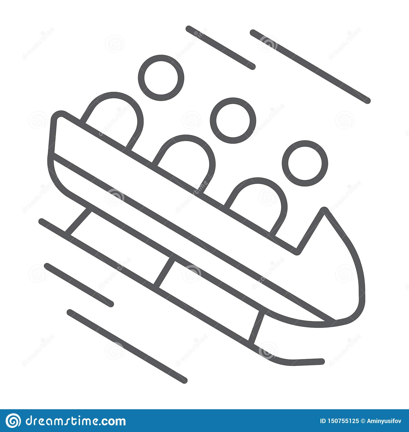 Bobsleigh Thin Line Icon Sport And Winter Bobsled Sign