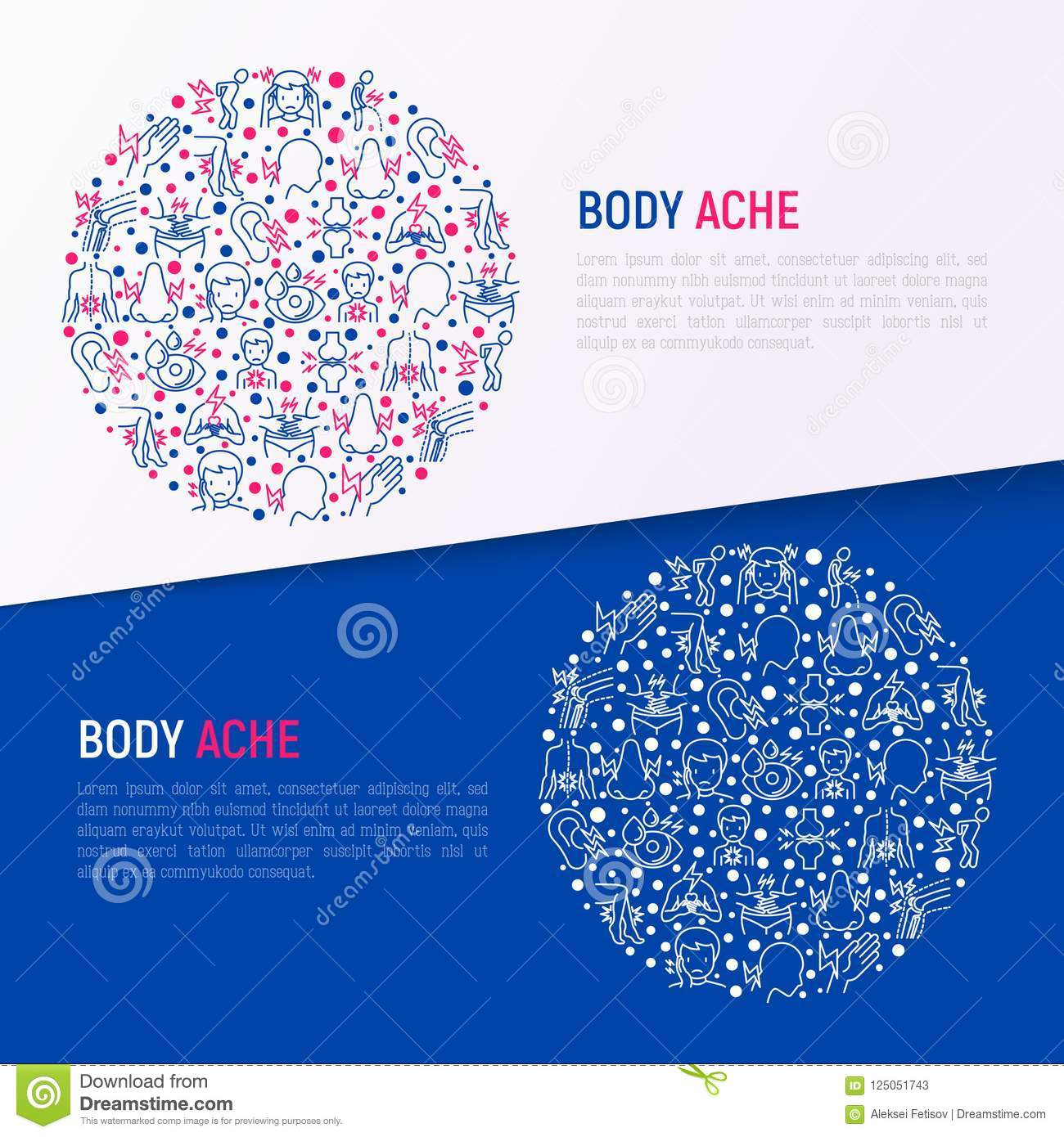 hight resolution of body aches concept in circle with thin line icons stock vector body pain locator body pain diagram template