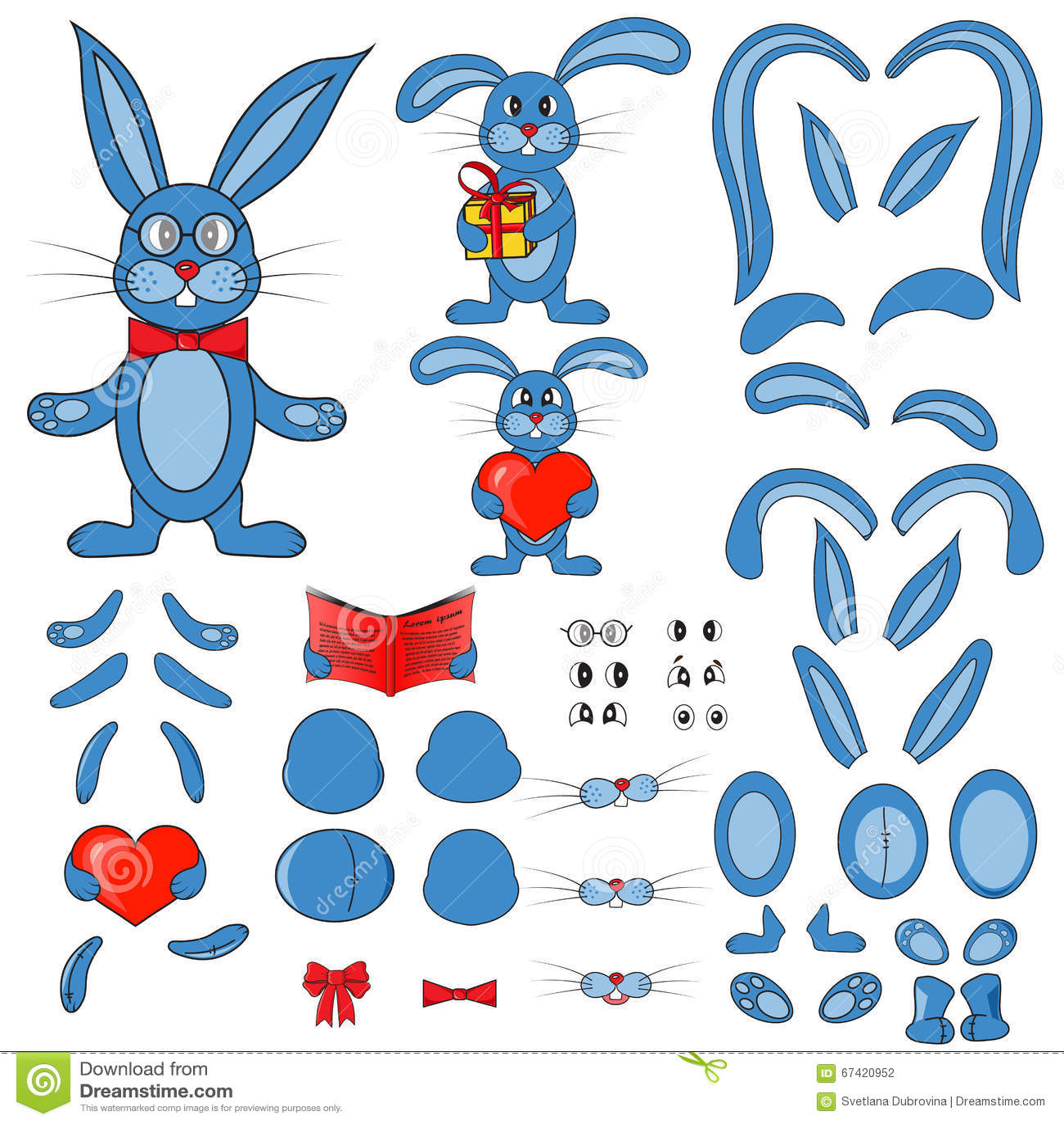 Body Parts Of The Rabbit In Vector Stock Vector