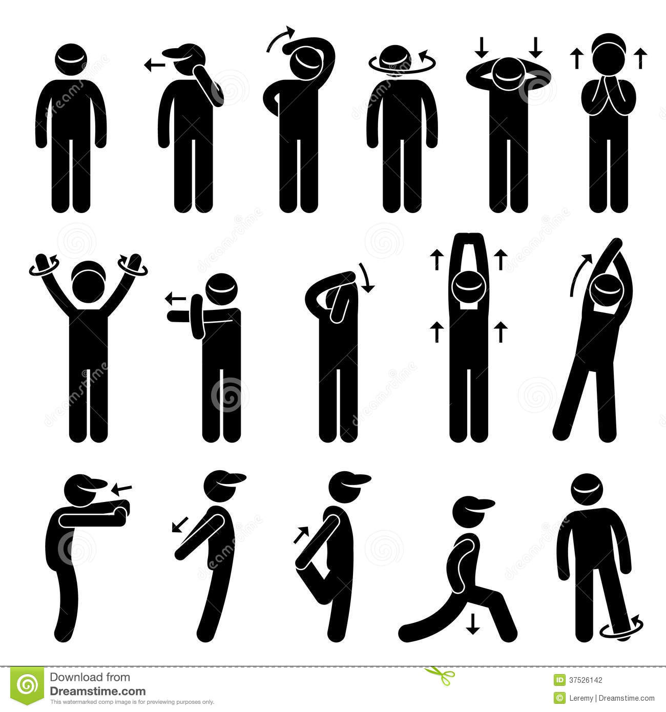 Body Stretching Exercise Stick Figure Pictogram Ic Stock Vector