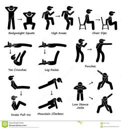 a set of human pictogram showing plank variation poses they are bodyweight squats high knees chair dip toe crunches leg crunches punches  [ 1300 x 1390 Pixel ]