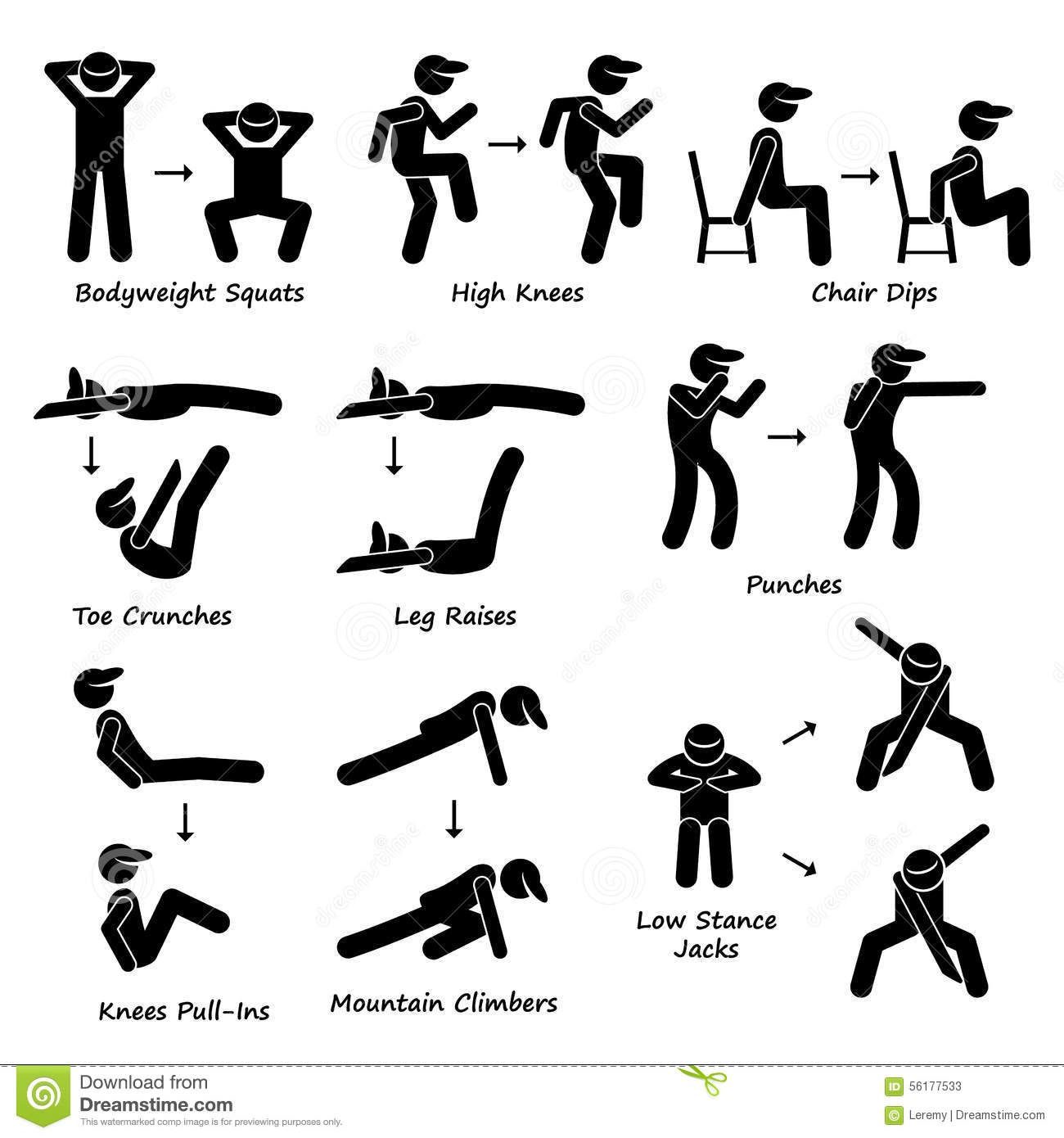 hight resolution of a set of human pictogram showing plank variation poses they are bodyweight squats high knees chair dip toe crunches leg crunches punches