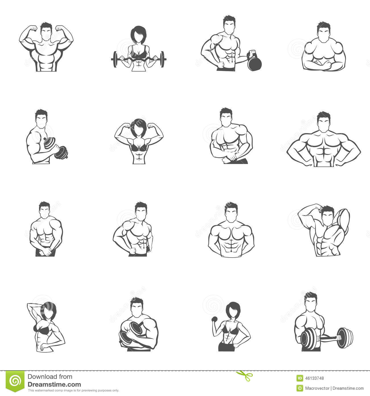 Bodybuilding Fitness Gym Icons Black Stock Vector
