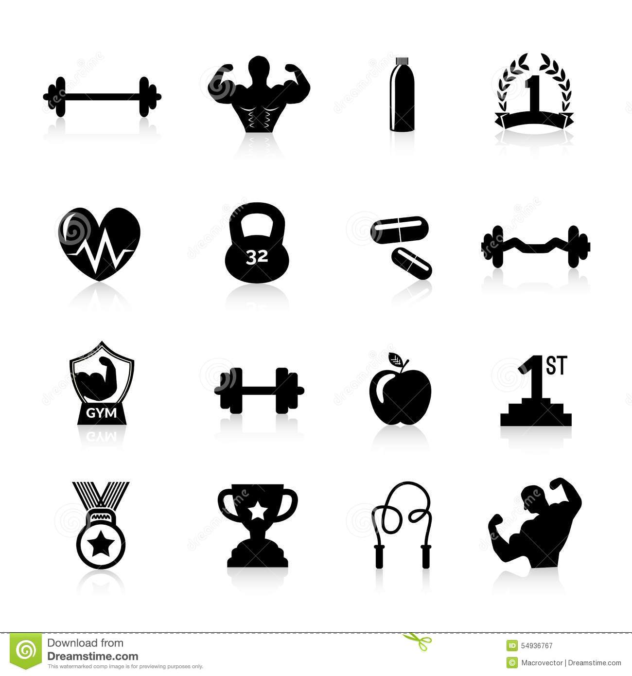 Bodybuilding Icons Black Stock Vector Illustration Of