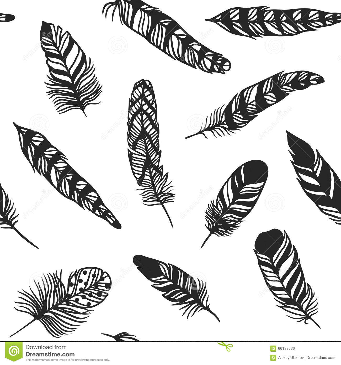 Boho Feather Hand Drawn Effect Vector Style Seamless