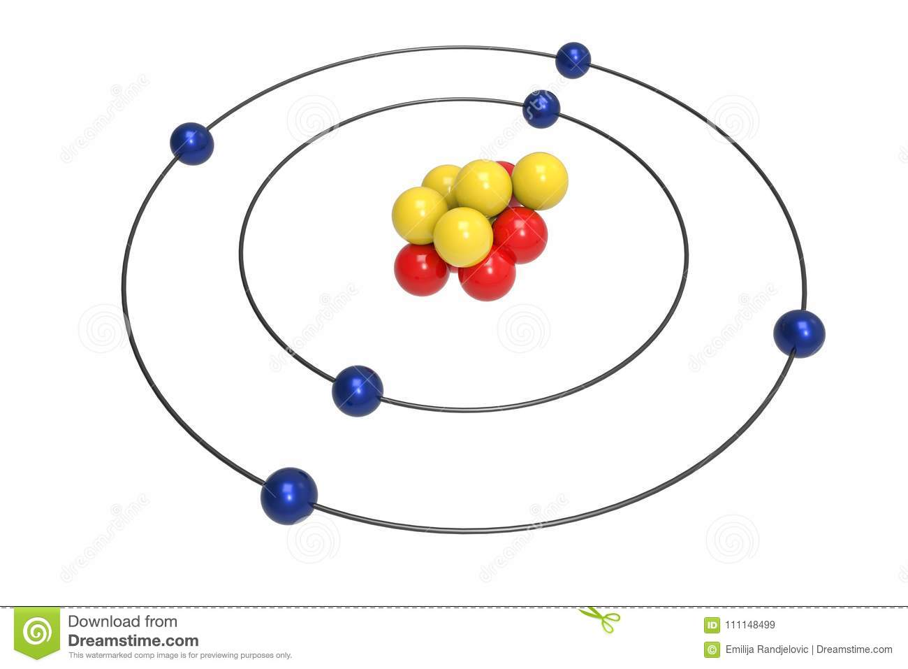 hight resolution of bohr model of carbon atom with proton neutron and electron
