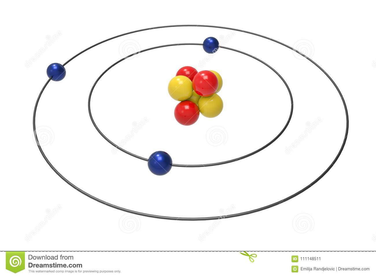 hight resolution of bohr model of lithium atom with proton neutron and electron