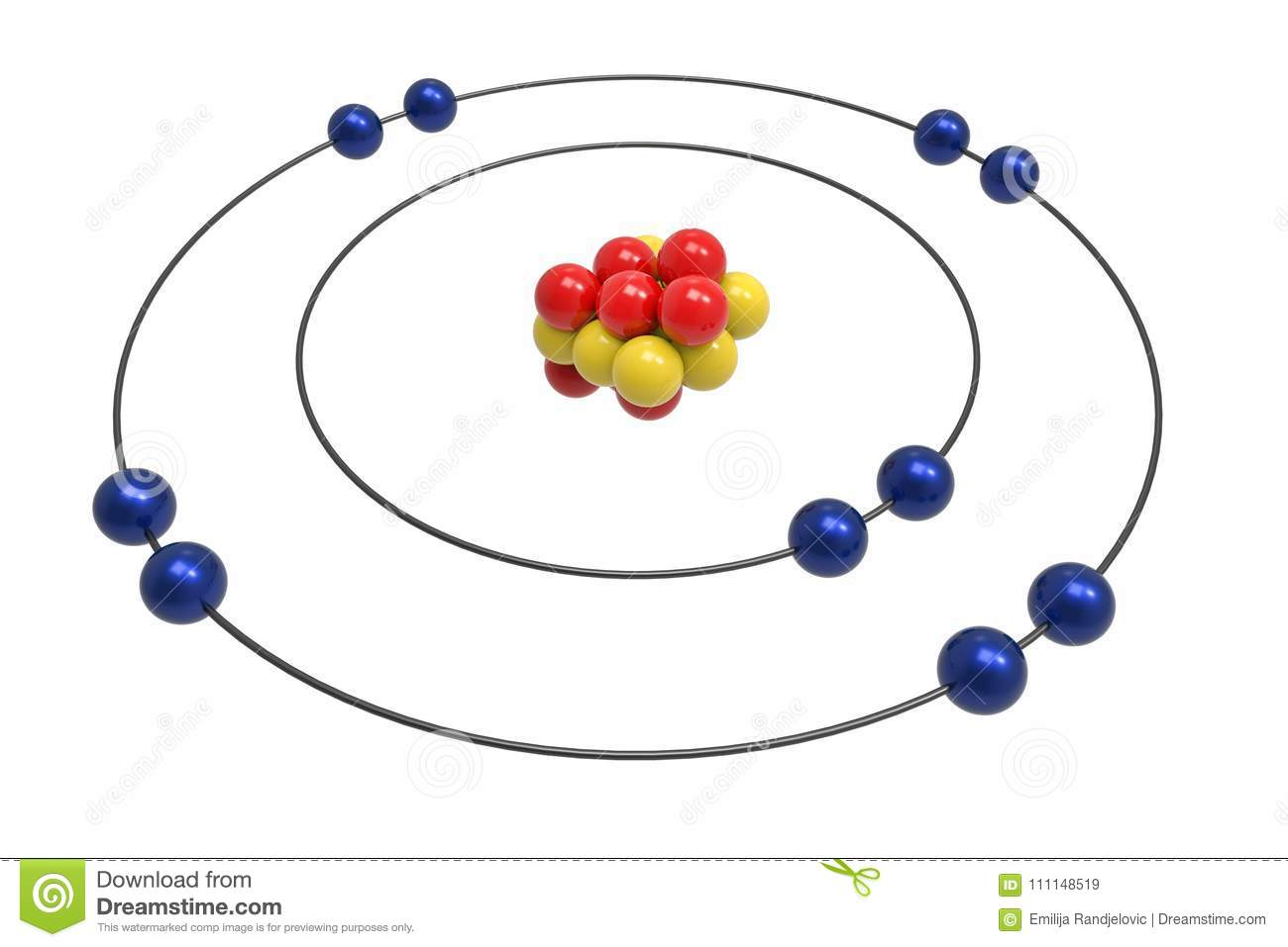hight resolution of bohr model of neon atom with proton neutron and electron