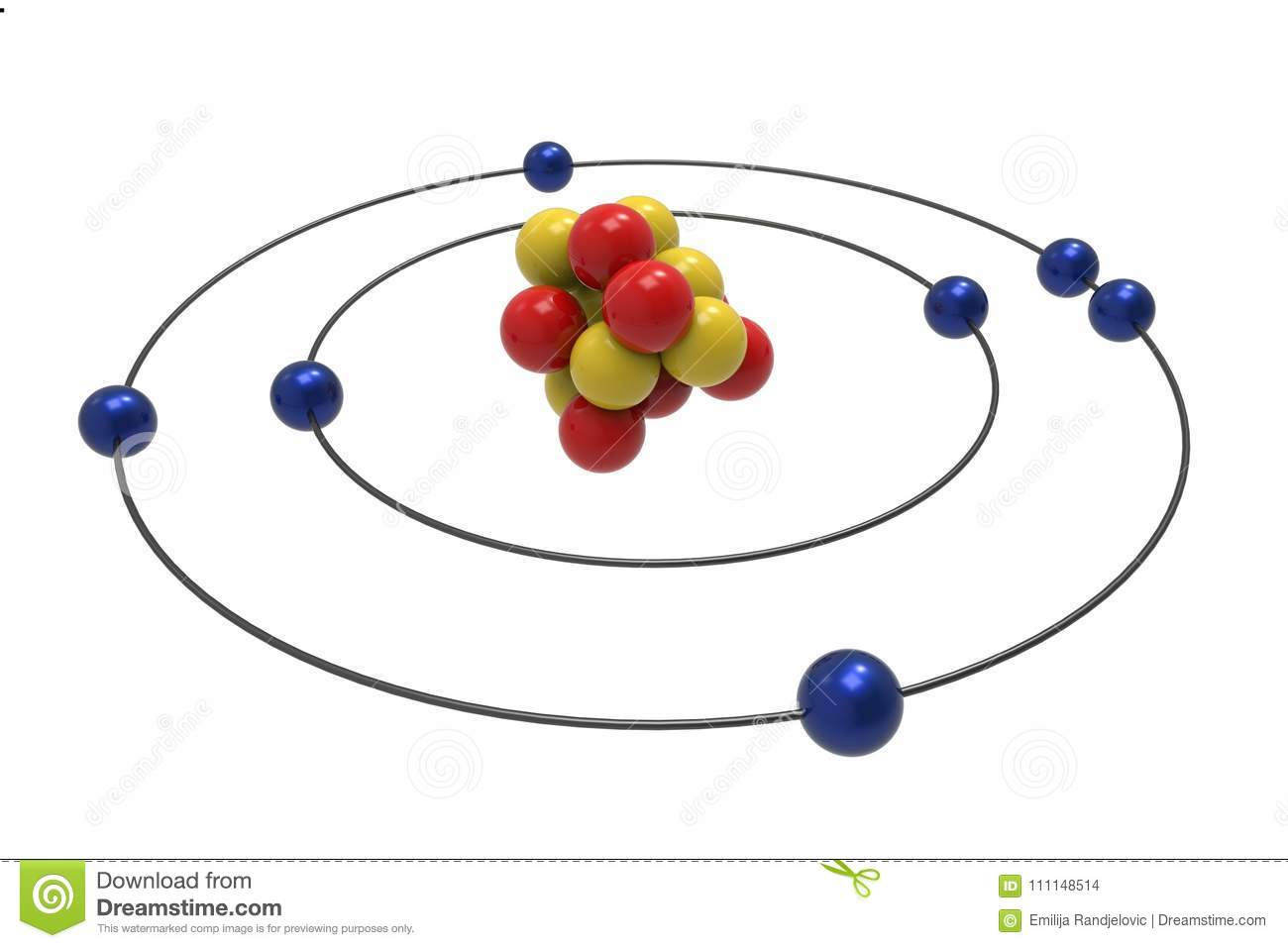 hight resolution of bohr model of nitrogen atom with proton neutron and electron