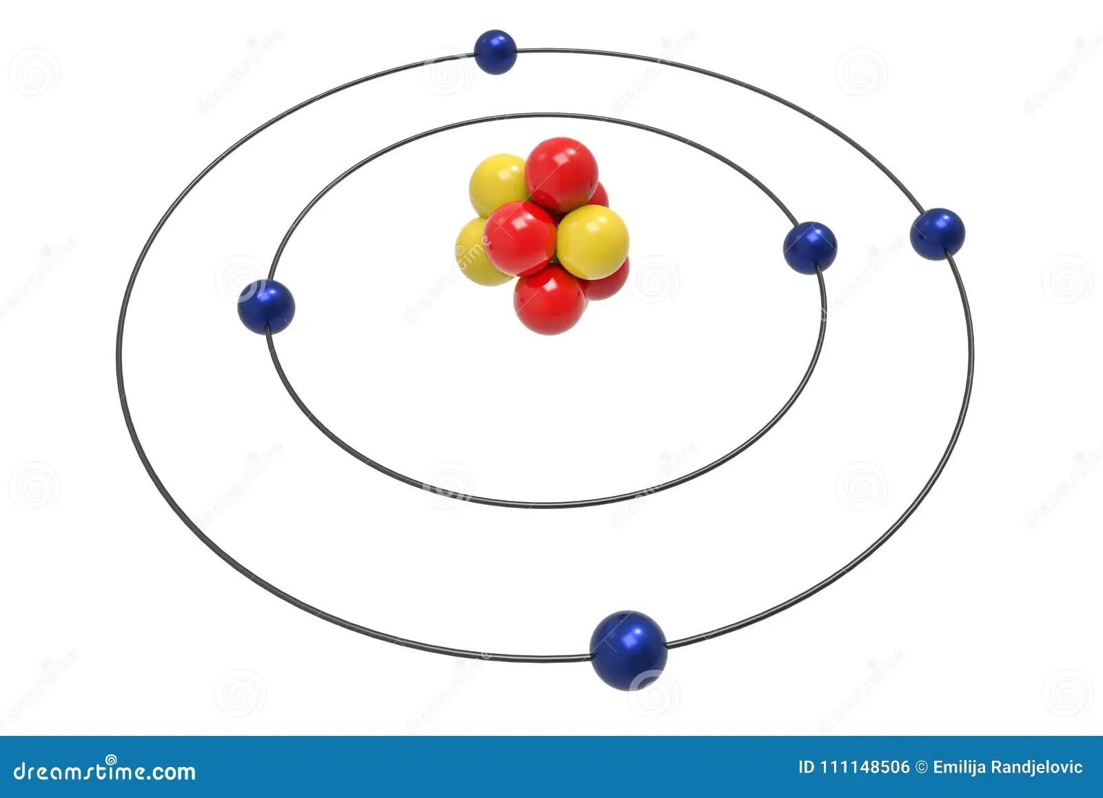 Bohr Modell Des Bor Atoms Mit Proton Neutron Und Elektron Stock Abbildung