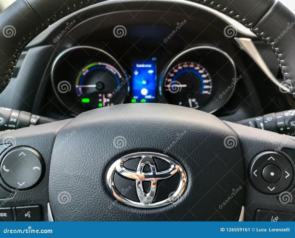 medium resolution of bologna italy 17 sep 2018 a toyota auris steering wheel controls and car dashboard