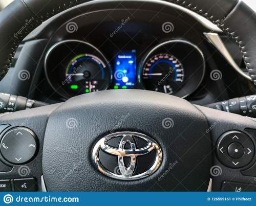 small resolution of bologna italy 17 sep 2018 a toyota auris steering wheel controls and car dashboard