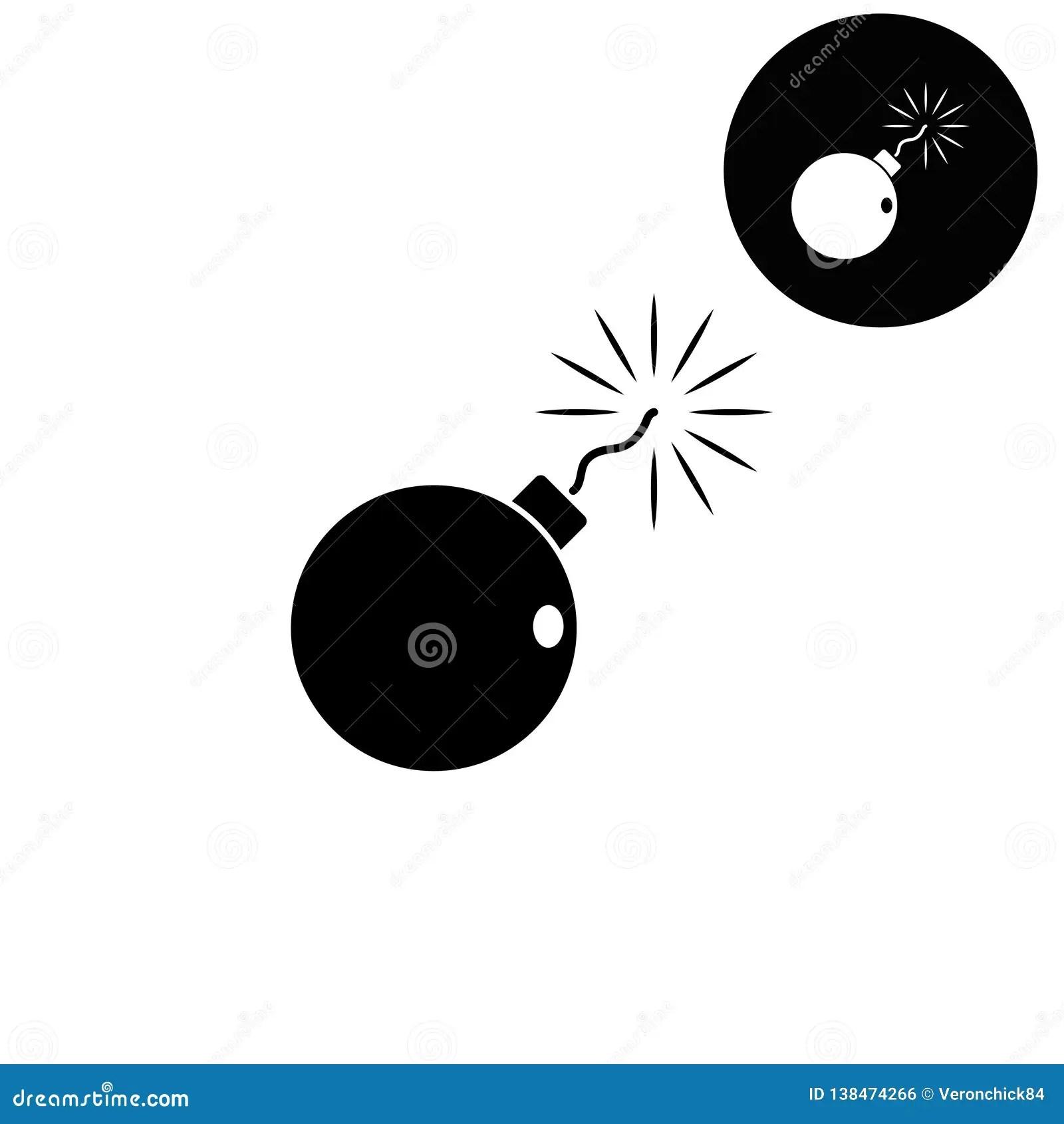 bomb white vector icon