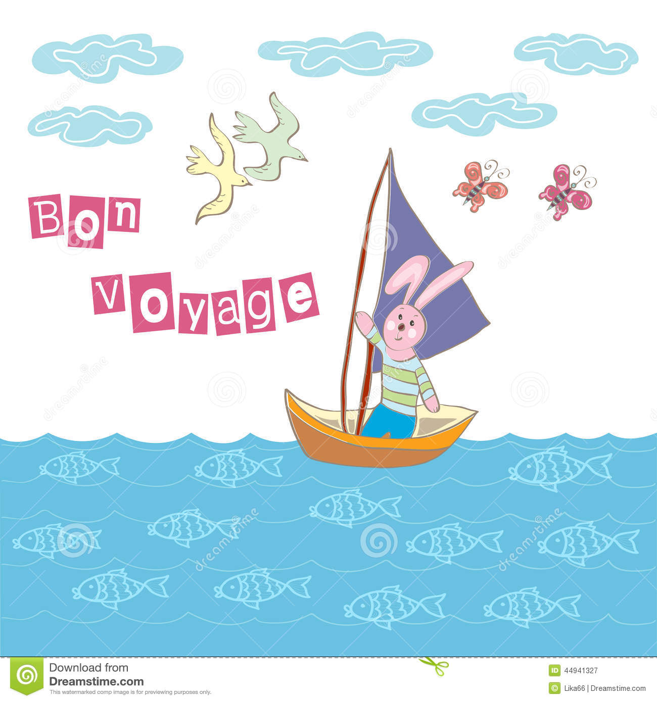 Bon Voyage Greeting Stock Vector Image 44941327