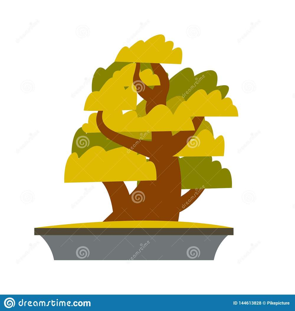 medium resolution of bonsai japanese cartoon vector tree growing in pot bonsai isolated clipart asian plants cultivation technique greenery gardening