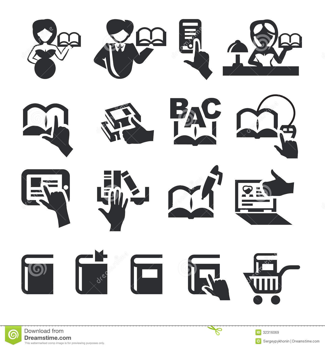 Book icons stock vector. Image of interface, internet