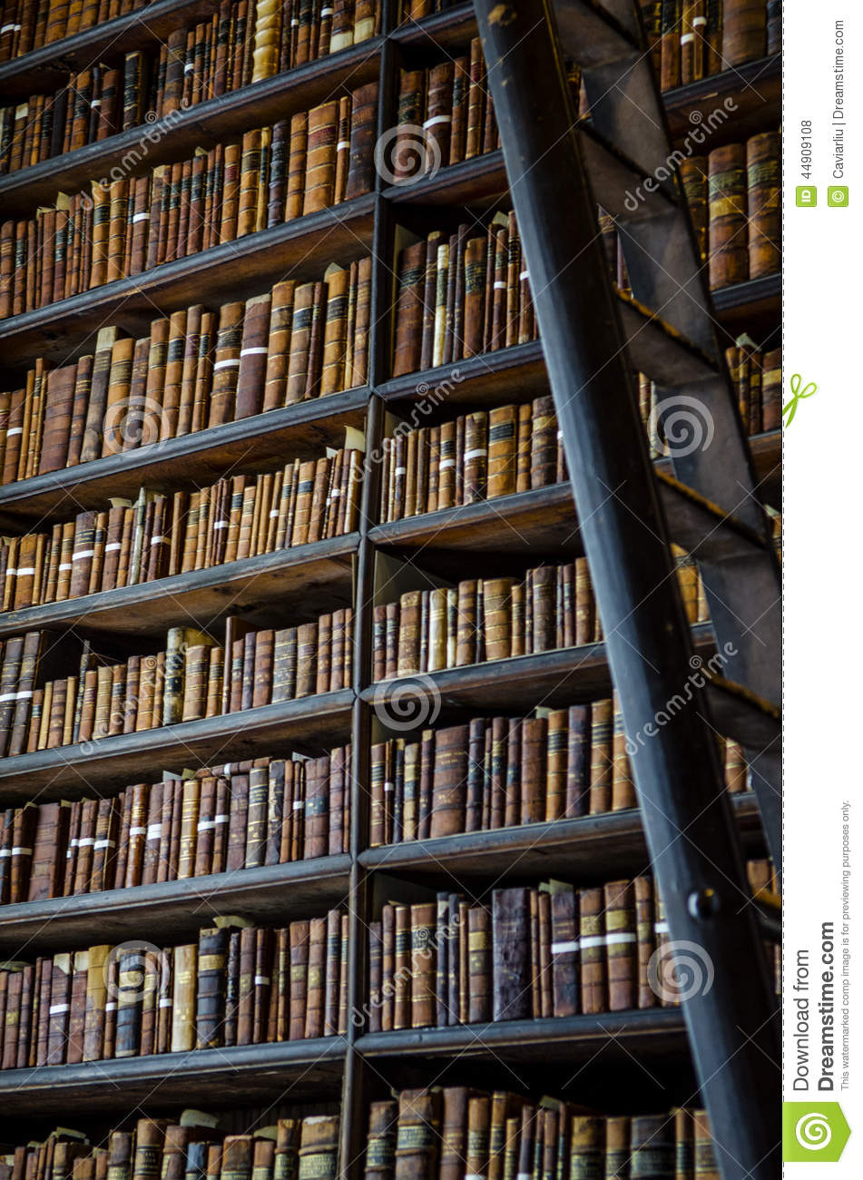 The Book Of Kells BookshelfLong Room Library In Trinity College Stock Photo  Image 44909108