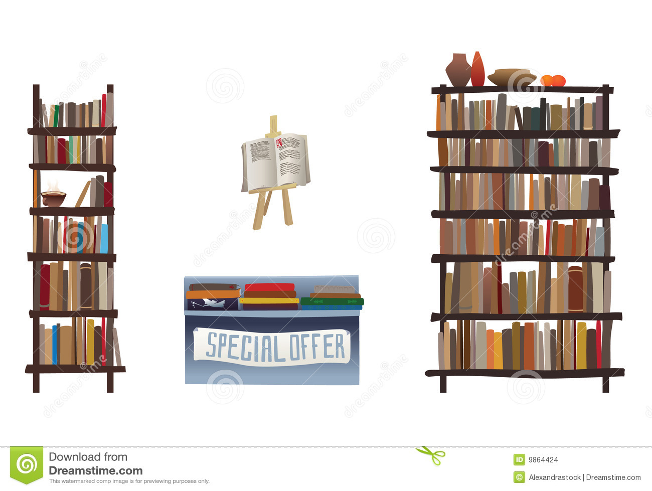 Book Shelves And Bookstore Equipment Stock Vector