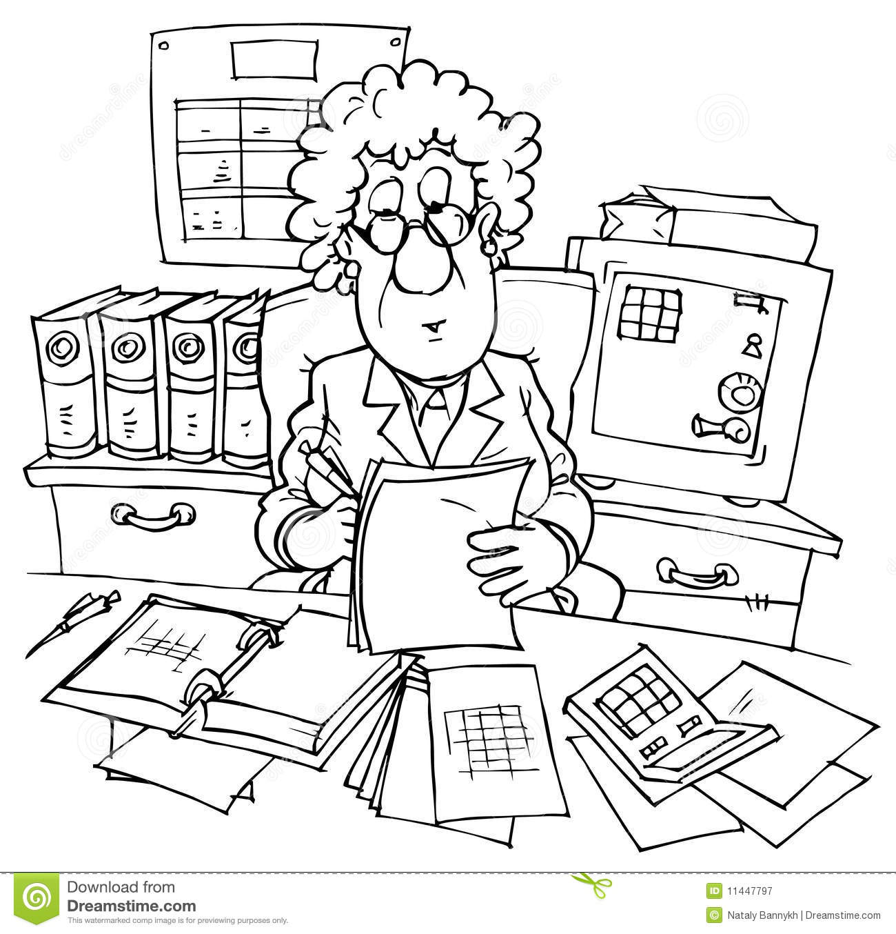 Bookkeeper Stock Vector Illustration Of Chief Official