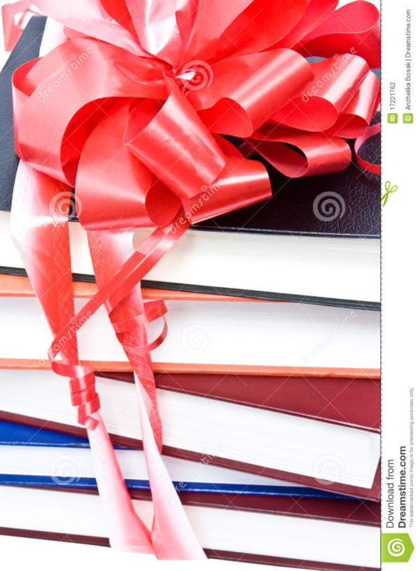 Books With Ribbon And Bow Stock