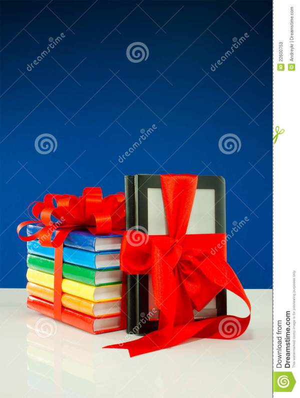 Books Tied With Ribbon And -book Reader Stock