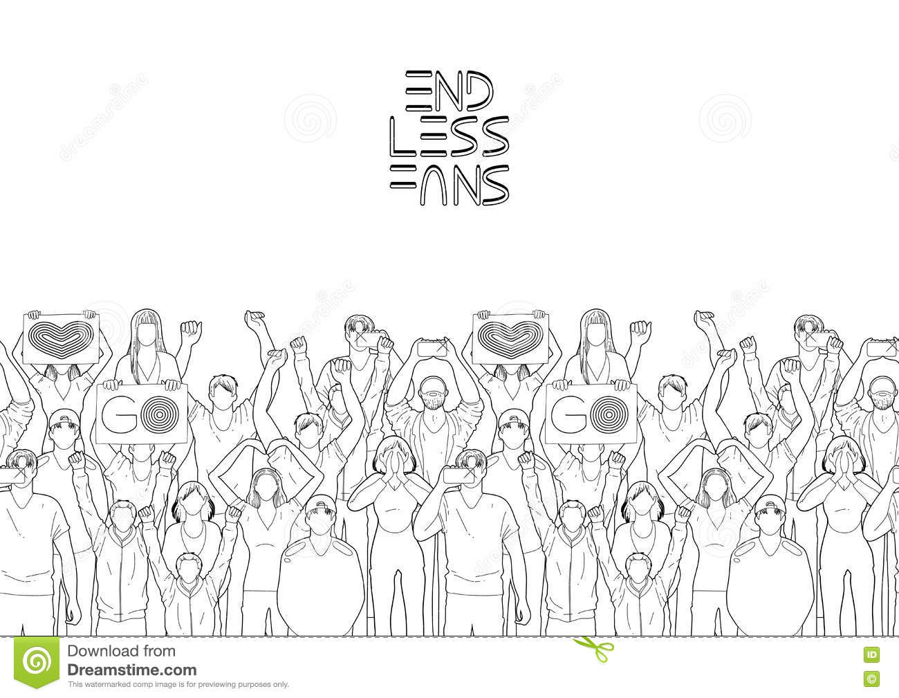 Border With Cheering Fans Stock Vector Illustration Of