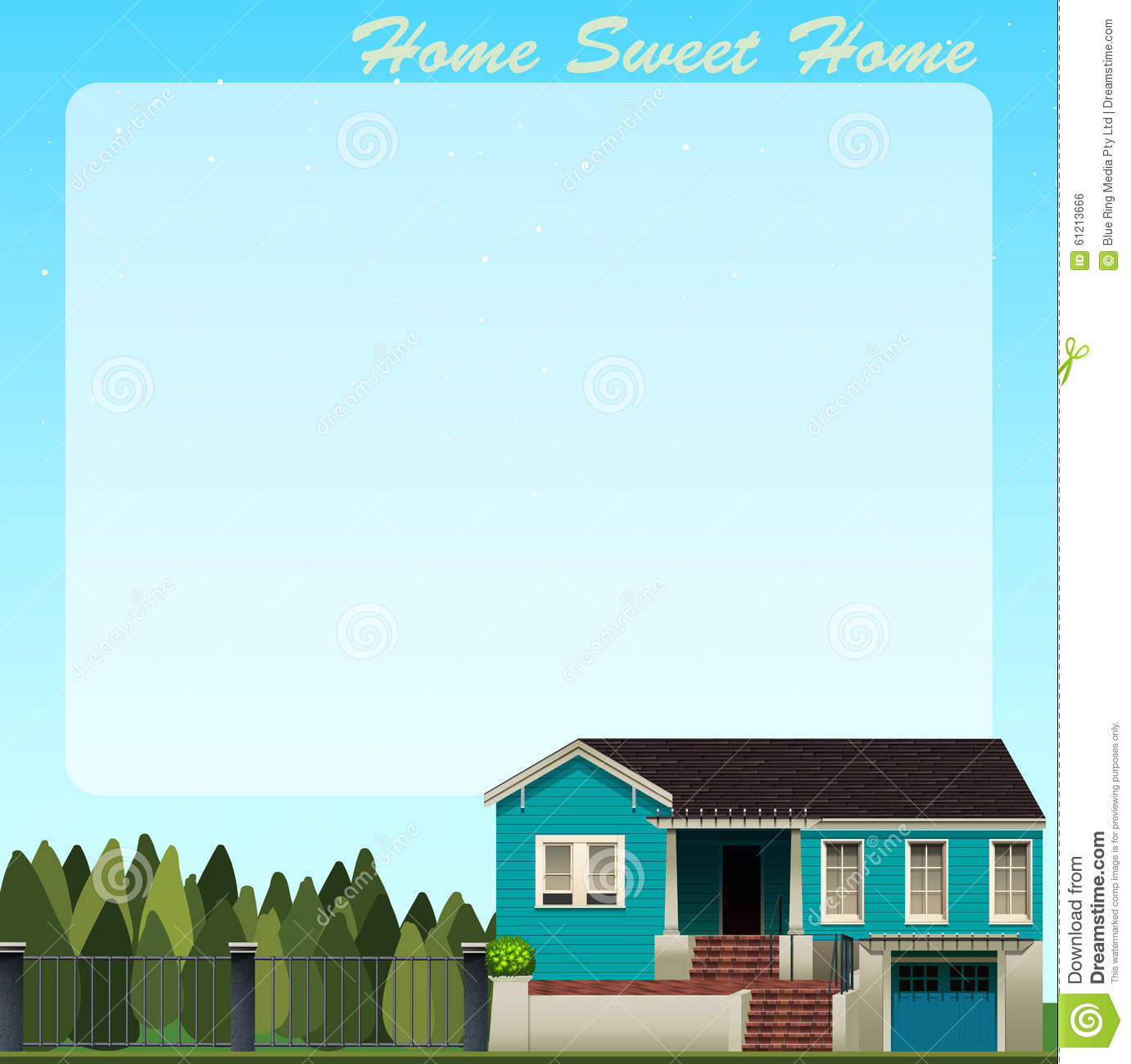 Border Design With Blue House Stock Vector Image 61213666