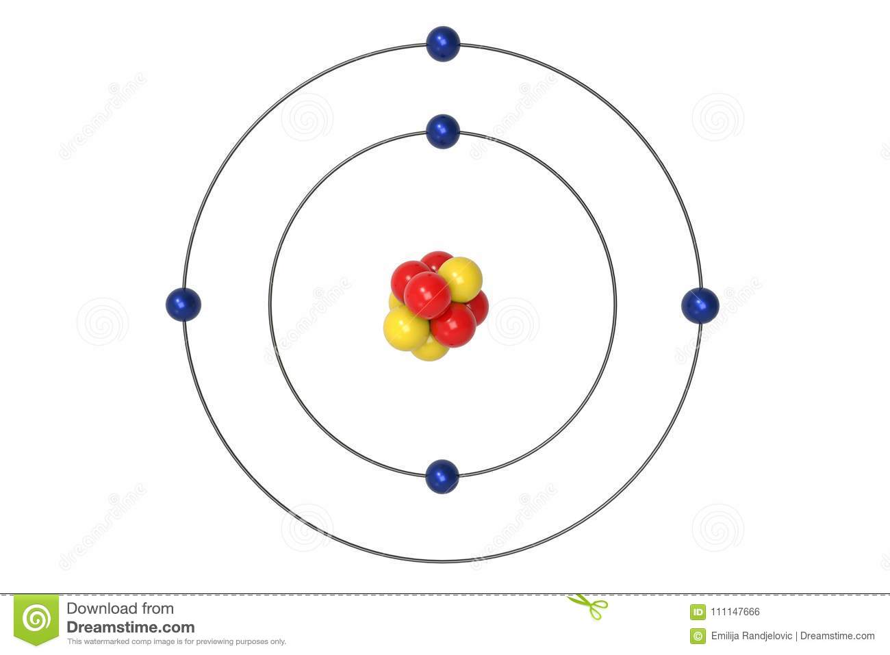 Boron Atom Bohr Model With Proton Neutron And Electron