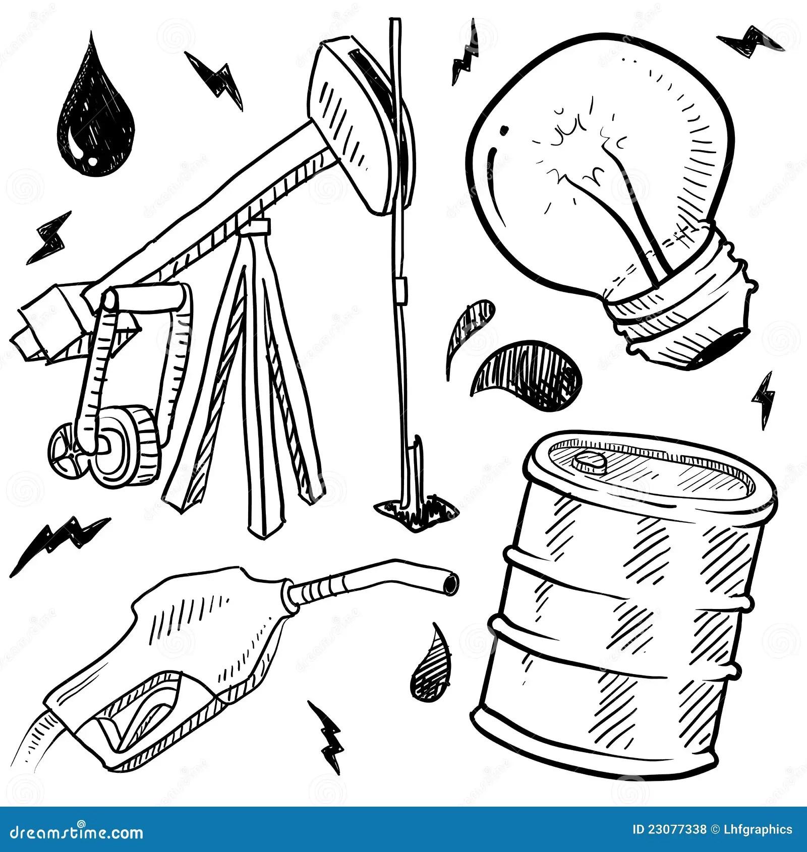 Bosquejo De Los Objetos De Los Combustibles Fosiles