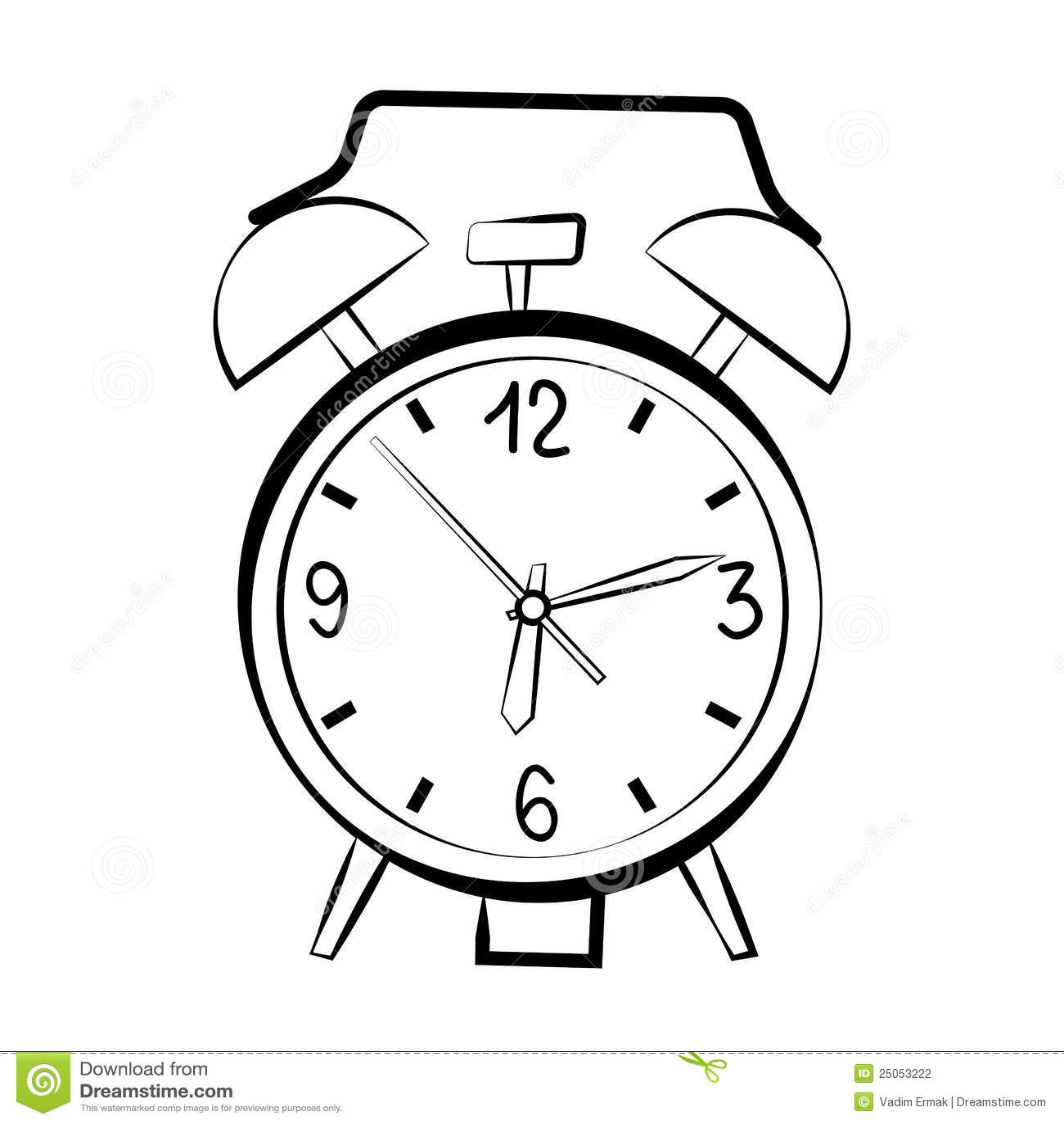 Bosquejo Del Reloj De Alarma Ilustracion Del Vector
