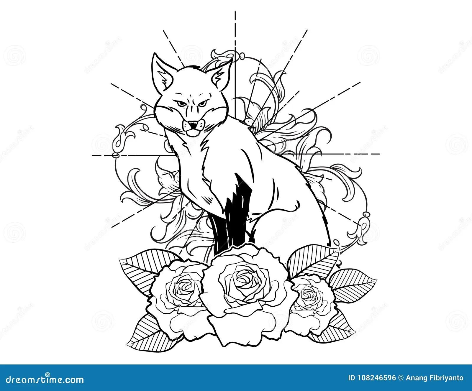 Bosquejo Del Tatuaje Del Fox Con Bosquejo Blanco Y Negro Del Tatuaje