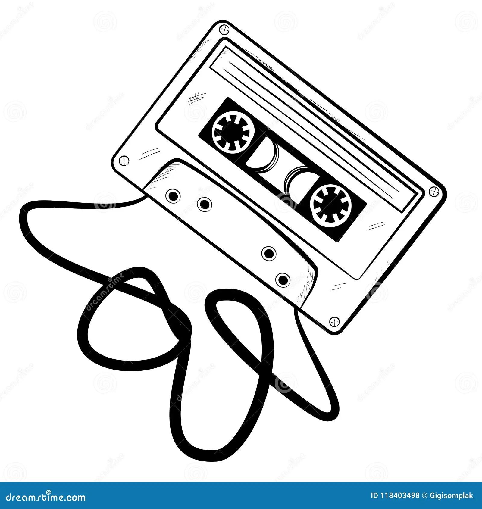 Bosquejo Simple Del Casete Audio Clásico, Cinta Arrugada