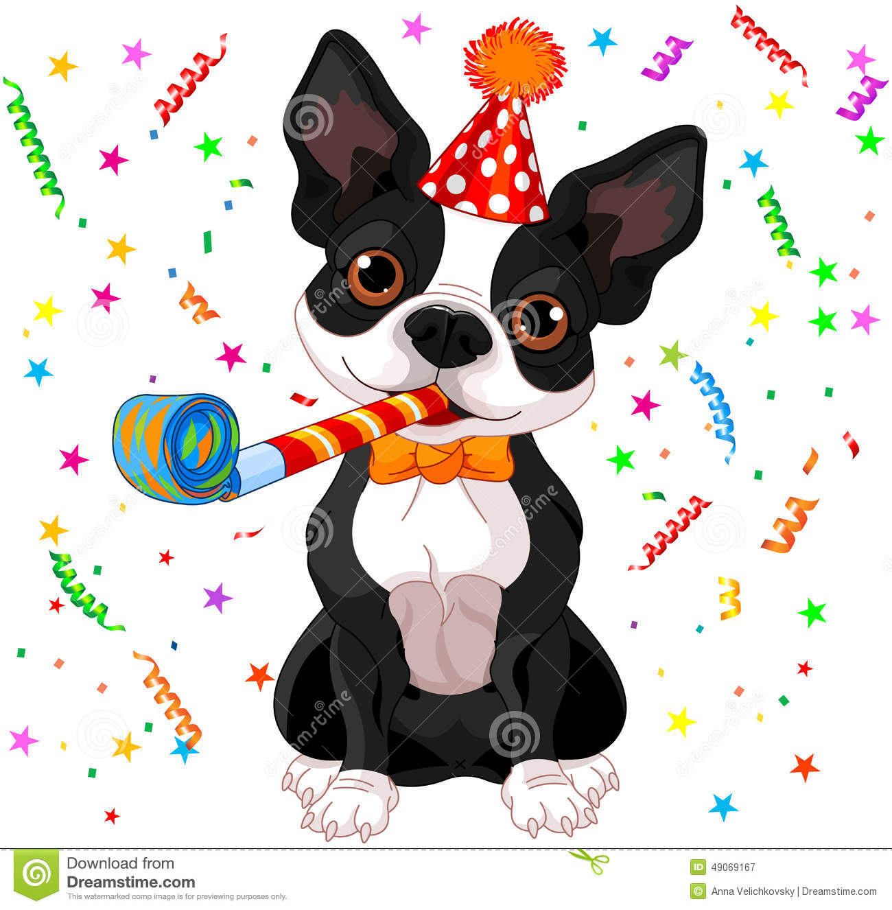 Boston Terrier Party Stock Vector Illustration Of Drawing