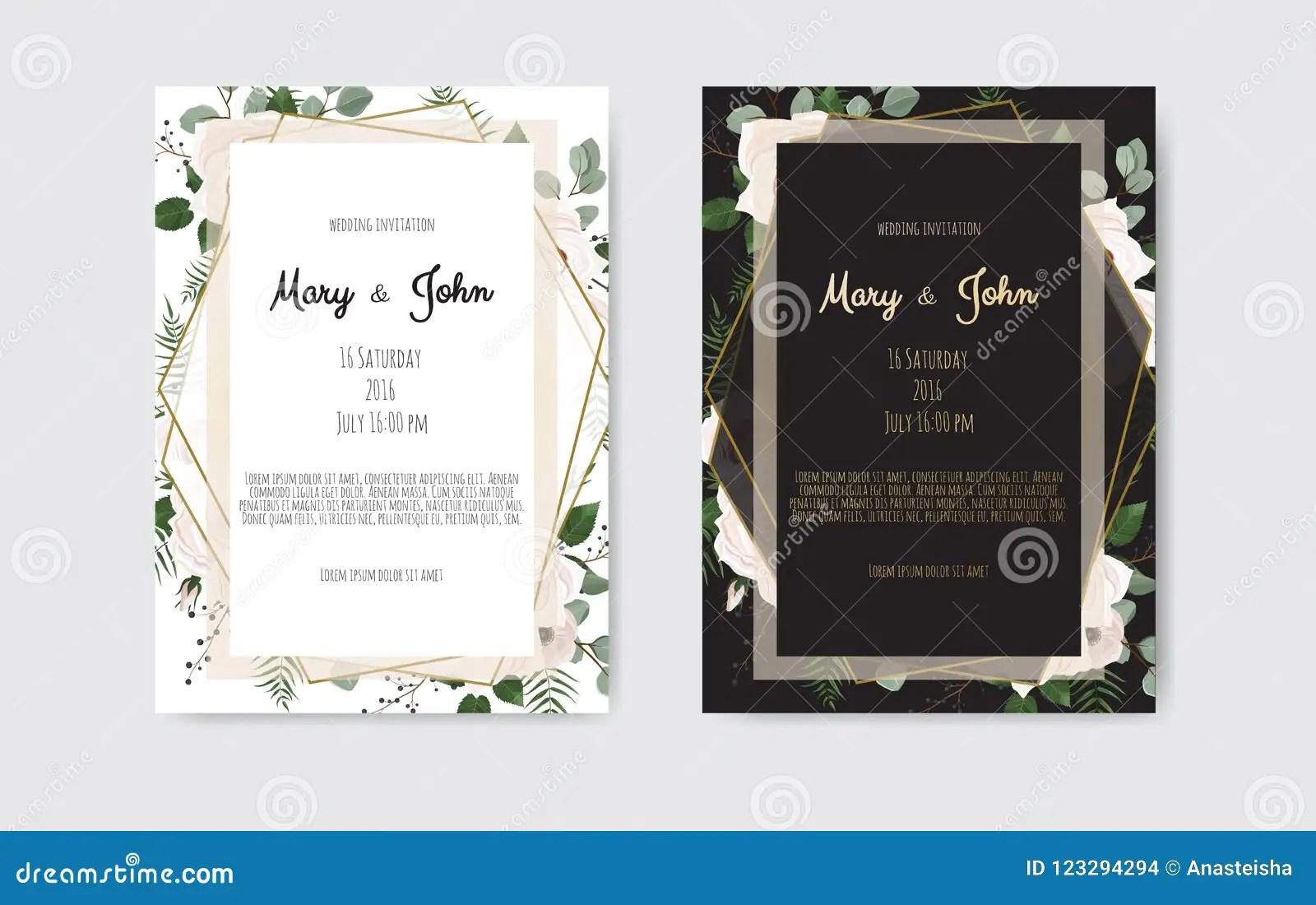 https www dreamstime com botanical wedding invitation card template design white pink flowers black background image123294294