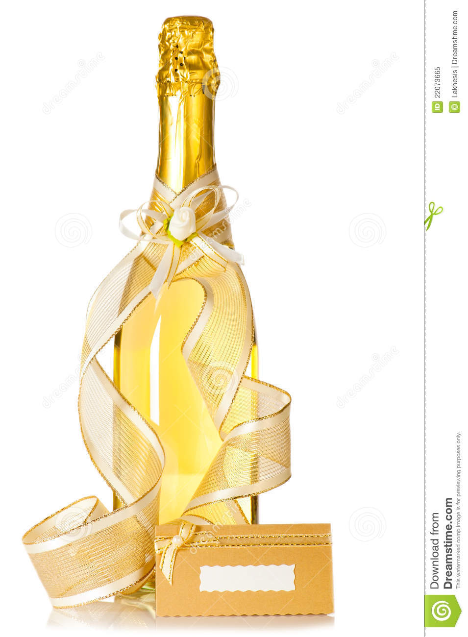 Bottle Of Champagne And Wedding Invitation Card Stock