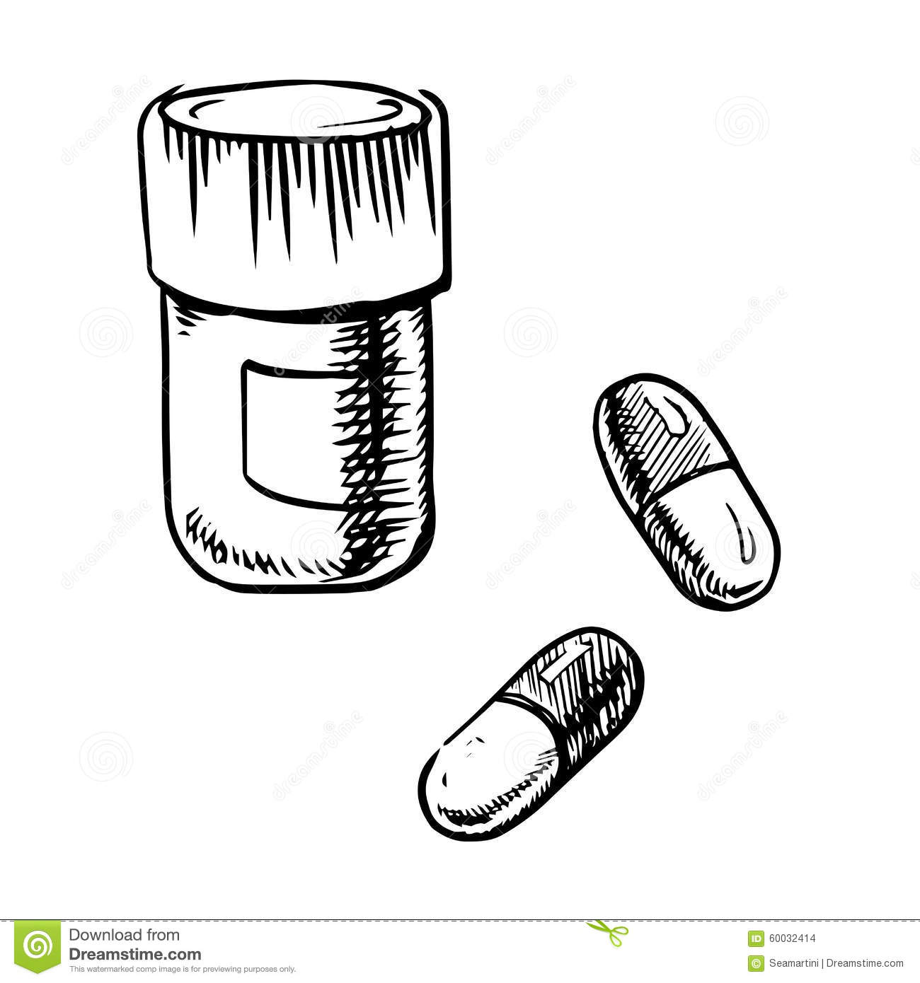 Bottle Sketch With Pills And Capsules Stock Vector