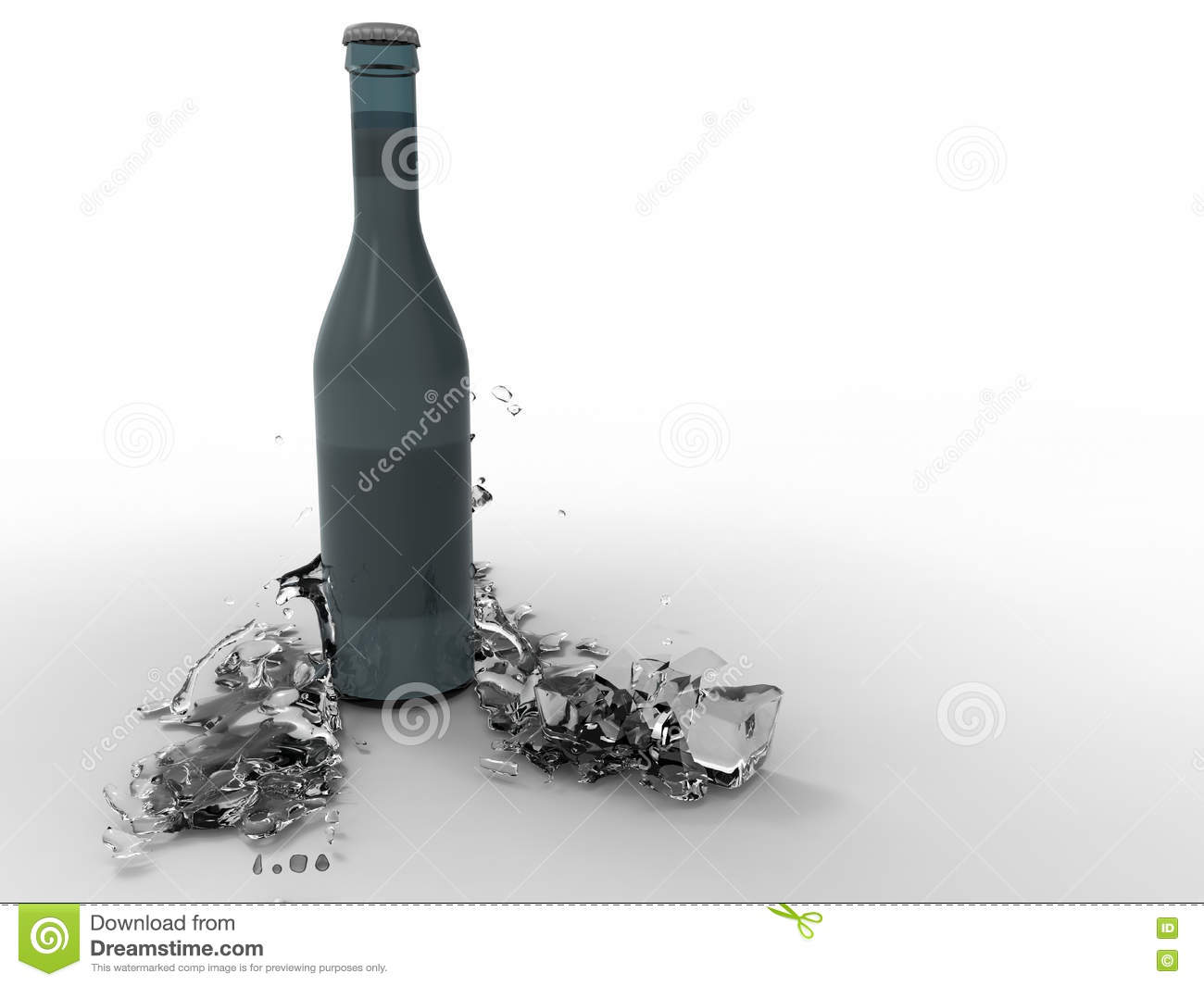 Bottle Of Water On Ice Cubes Royalty Free Stock Image