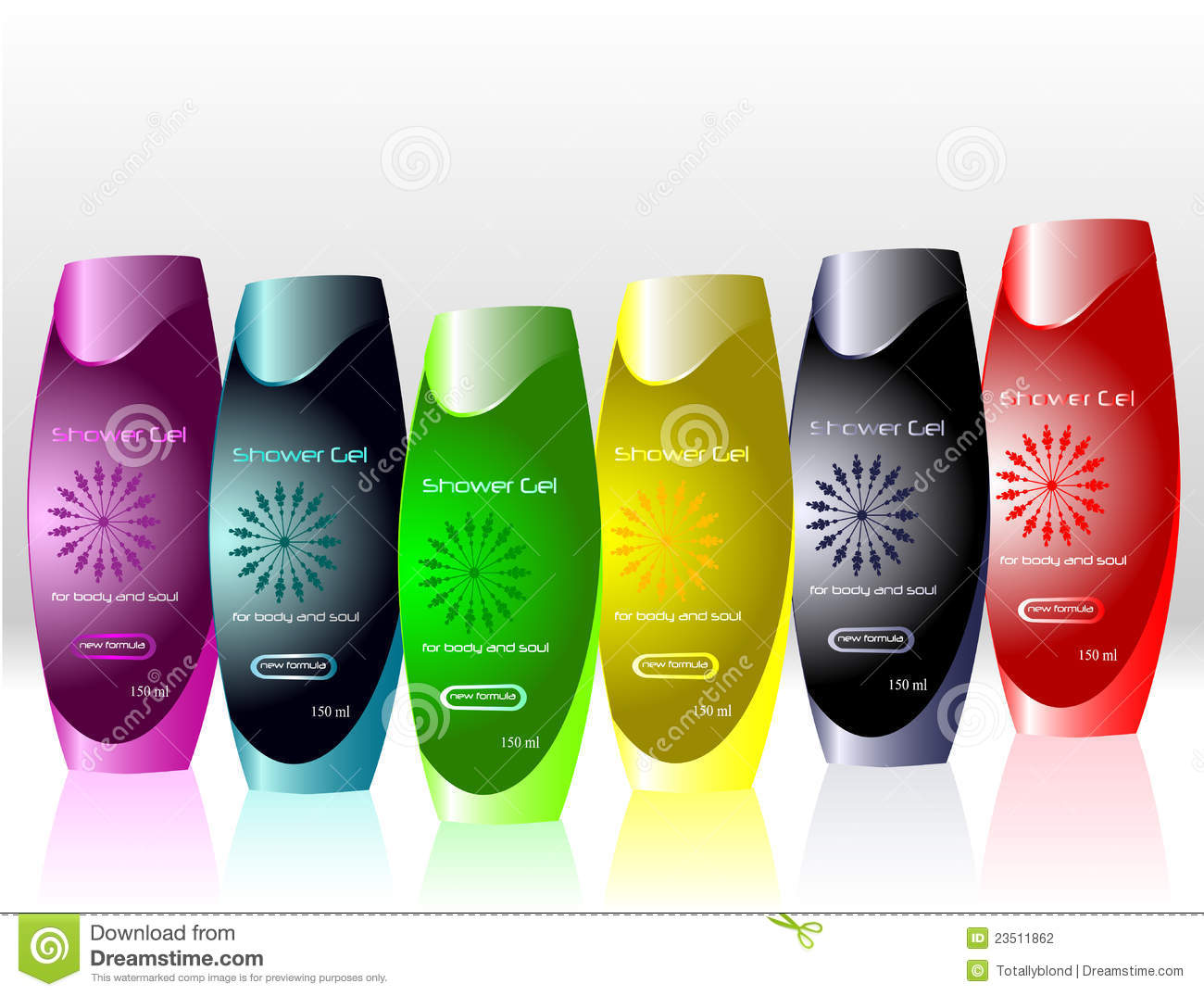 Bottles With Sample Labels For Shower Gel Stock Vector