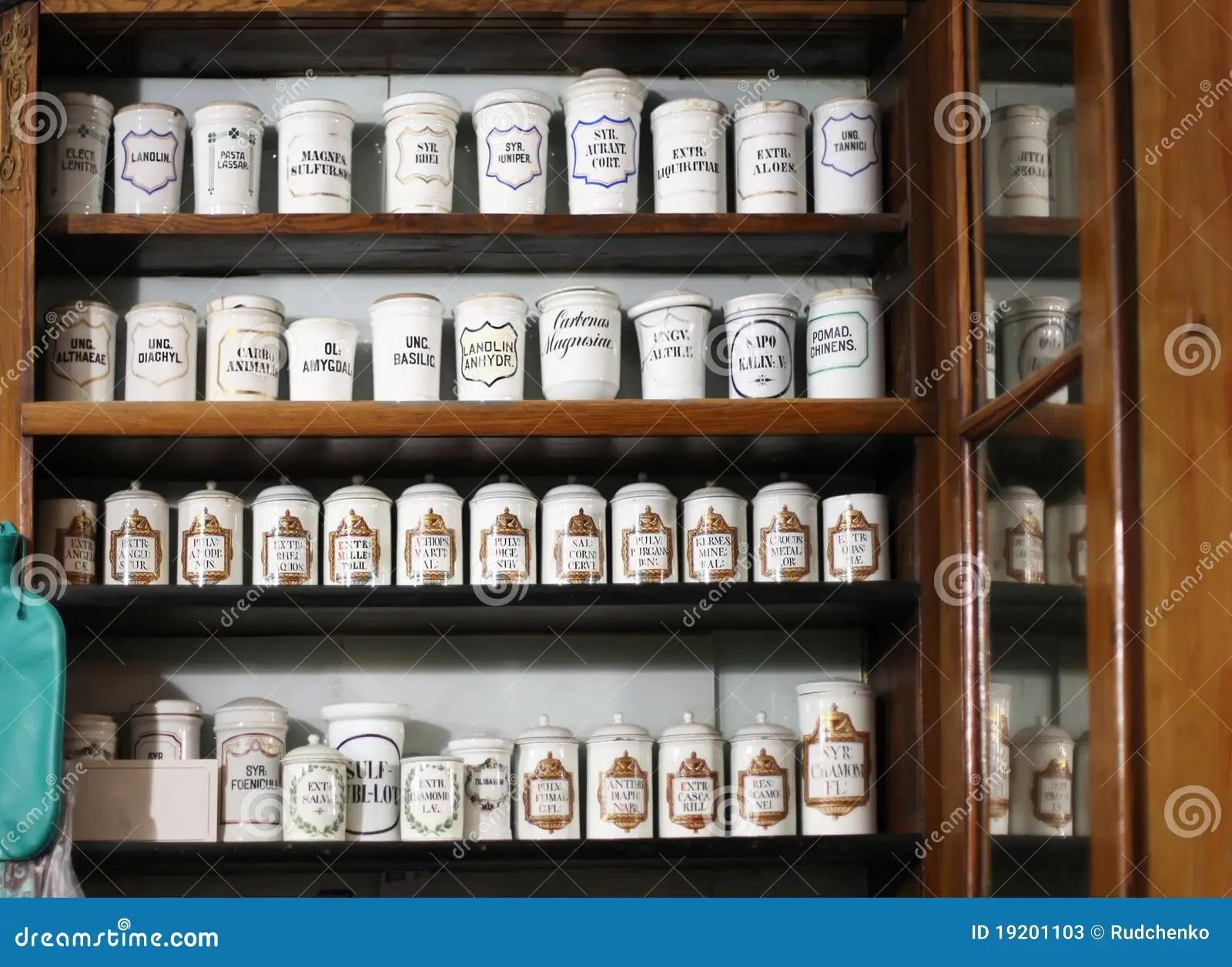 Bottles On The Shelf Of Old Pharmacy Stock Photos  Image