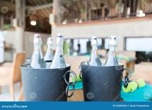 Bottles Of Water In Ice Bucket Hotel Restaurant Stock