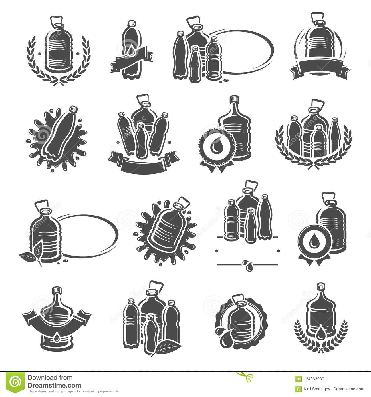 Bottles Water Labels And Elements Set Water Icon