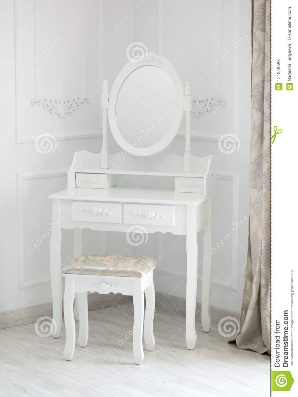 Makeup Table Chair Boudoir Table Make Up Table With Mirror Stock Photo Image Of